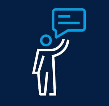 Step 1 graphic of a person with a speech bubble